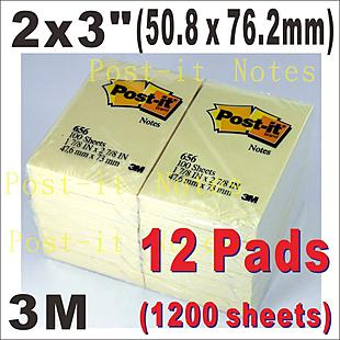 3M Notes Pads 1-7/8x2-7/8 , 47.6x73mm _12 pads